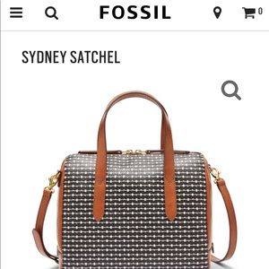 Fossil Black and White Sydney Satchel